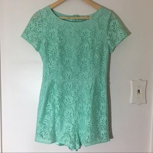 Forever 21 mint green lace romper